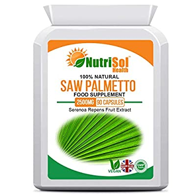 NutriSol Health Saw Palmetto Extract 2500mg 90 Capsules | from Pure Wild Crafted Berries | Supports Healthy Urinary Tract, Sexual Function & Prostate Function in Men.