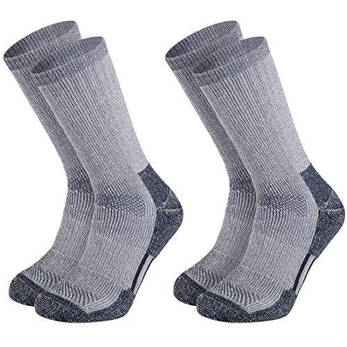 Vihir Lot de 2 paires de chaussettes de randonnée en laine mérinos respirantes rembourrées et anti-bulles - Bleu marine