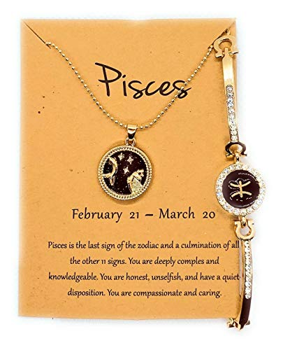 ZODIAC Star Sign Necklace Pendant Combined With A Bracelet Beautiful Picture And With Great Message Card Amazing Gift For Women Men Boy Girl Ideal All Year Round Gold Plated (Pisces)
