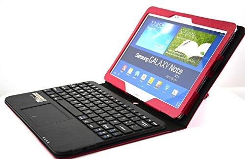 MQ - Galaxy Note 10.1 2014 Bluetooth Tastatur Tasche mit Multifunktions-Touchpad | Hülle mit Bluetooth Tastatur und integriertem Touchpad für Samsung Galaxy Note 10.1 2014 Edition WiFi SM-P6000, LTE 4G SM-P6050 | Layout: Deutsch | Rot