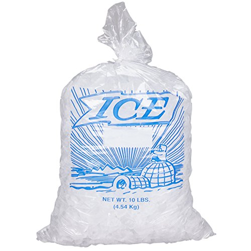 10 lb. Clear Plastic Ice Bag with Twist Ties Included by MT Products (Actual Graphic may Vary)- Set of 50 Bags and 50 Twist Ties