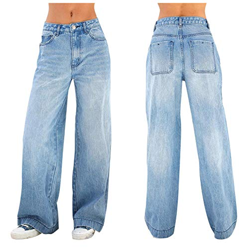 BFONE Women's Juniors Low Rise Wide Leg Denim Jean Mopping Loose Straight Leg Pants Trousers Jeans Dark Blue