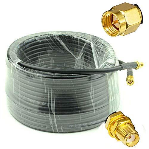 YiLIANDUO - Cable alargador coaxial de 20 m y 65 m, macho a hembra, baja pérdida, RG58 cable coaxial 50 ohm, cobre puro, para cámara, radio, antena wifi, router 4G LTE 5G MIMO