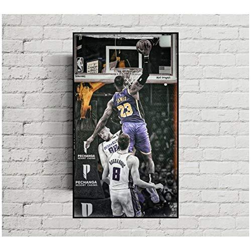 Póster de LeBron James Nba Star King James, decoración del hogar, sala de estar Jordan Kobe, arte de pared para habitación de niños, 16x32 pulgadas, 1 Uds, Sin marco