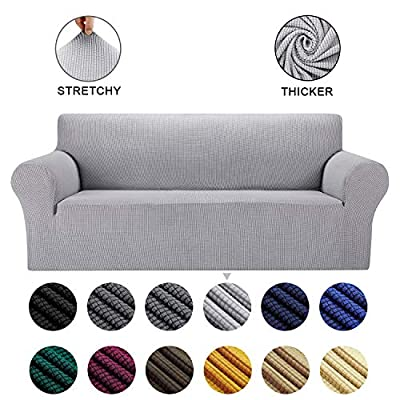 AlGaiety Stretch Sofa Cover Slipcover, Furniture Protector Spandex 1-Piece Couch Coat with Elastic Bottom for Dogs, Cats, Kids Small Checked Pattern Fabric (X Large, Silver)