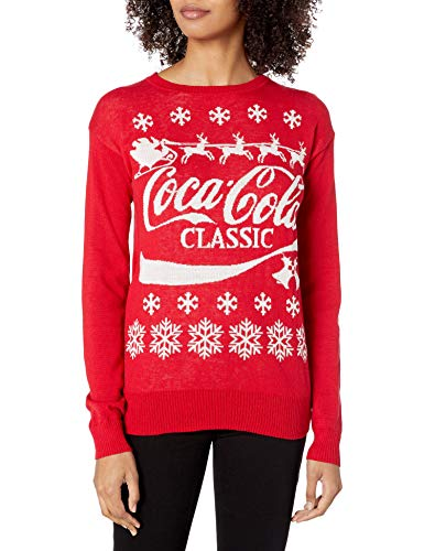 Coca-Cola Women's Ugly Christmas Sweater, Logo/Red, Large