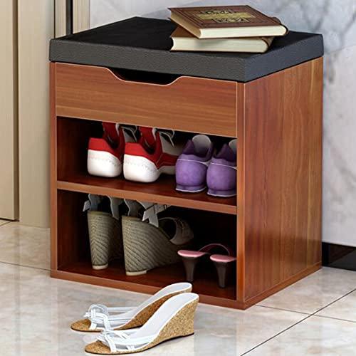 CAMILYIN Banco de zapatos con soporte de almacenamiento para zapatos de asiento de madera con tapa abatible con bisagras para sala de estar, pasillo, guardarropa, entrada, color negro