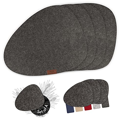 Sølmo I Mantel individual de fieltro – ovalado I manteles individuales lavables I mantel mantel mantel individual I primavera y primavera (piedra oscura)