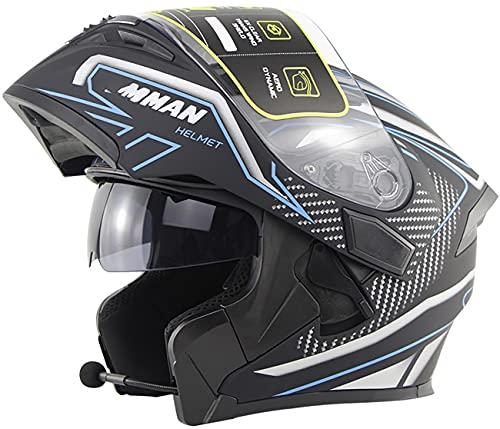 Casco de Moto Modular Bluetooth, Casco Integral Aprobado ECE para Ciclomotores Y Bicicletas De Calle con Visera Solar para Adultos, Jóvenes, Hombres Y Mujeres Blue,S=53-54CM