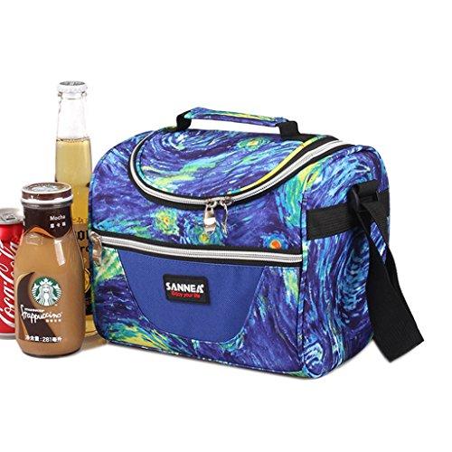 WHT Sac à Lunch isolé, Sac à Lunch Scolaire pour Enfants Enfants Cooler Bag Fourre-Tout avec Bandoulière pour Femmes Hommes Garçons Filles(Bleu)