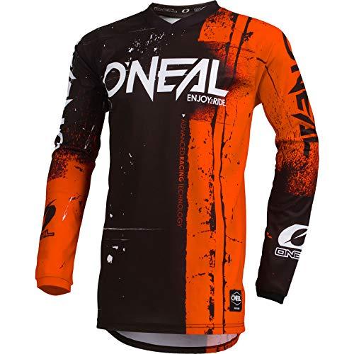 O'NEAL | Motocross-Jersey Langarm | Kinder | MX MTB Mountainbike Enduro | Eingenähter Ellbogenschutz, V-Ausschnitt, Atmungsaktives Material | Element Youth Jersey Shred | Orange | Größe XL