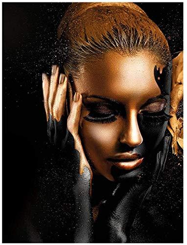 Lienzo De Impresión 60x80cm Sin Marco Arte de pared con estampado de niña afroamericana, modelo femenino de moda con maquillaje negro y dorado en la cara, arte abstracto, cartel de mujer negra