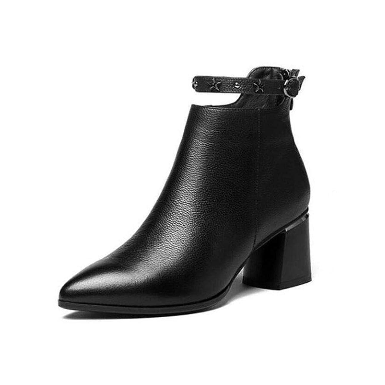 公園宇宙不愉快女性のブロックのヒールのブーツ、秋/冬のチンキーヒールのブーツ/アンクルブーツファッションはワイルド多目的な厚いヒールファッションレディースシューズを指摘 (色 : Black velvet, サイズ : 38)