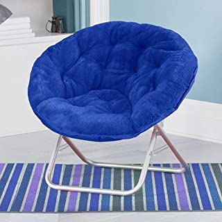 Blue Plush Saucer Moon Chair Adult Size