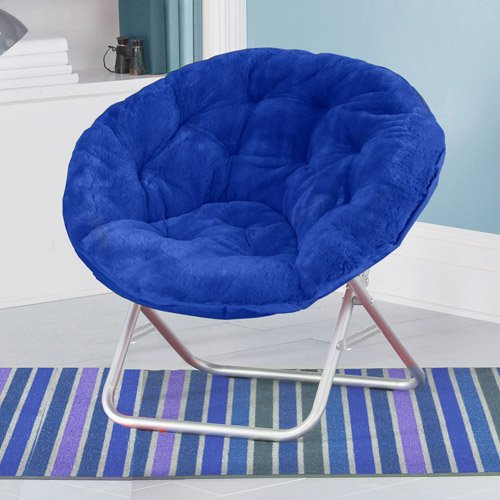 Mainstays Faux-Fur Saucer Chair (1, Blue)