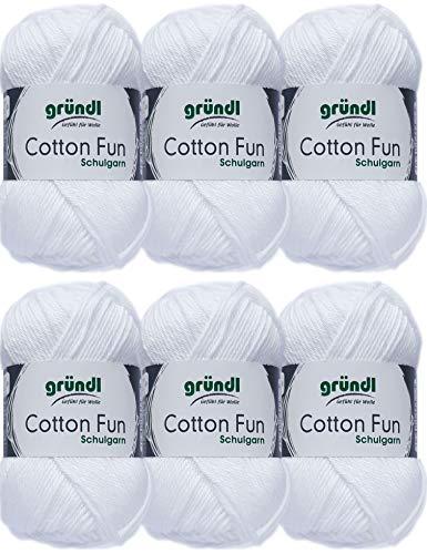 Gründl Cotton Fun Wolle Set 6x 50 Gramm Weiss 01 aus 100% Baumwolle