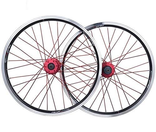 Juego de ruedas de bicicleta de 20 pulgadas Ruedas de ciclismo, doble pared, liberación rápida, llanta híbrida de MTB, freno en V, buje de ciclismo, 32 orificios, 8 9 10, 11 velocidades, ruedas delan