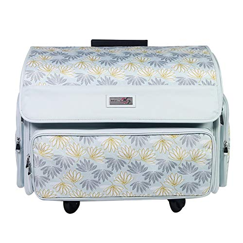 Everything Mary 4 Wheels Collapsible Deluxe Sewing Machine Storage Case, White - Rolling Trolley Carrying Bag for Brother, Singer, Bernina & Most Machines - Travel Tote Organizer for Accessories