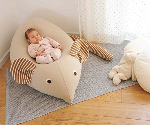 Huge Mouse Beanbag pillow - Handmade baby lounger - floor pillow - kids pouf - Mocha