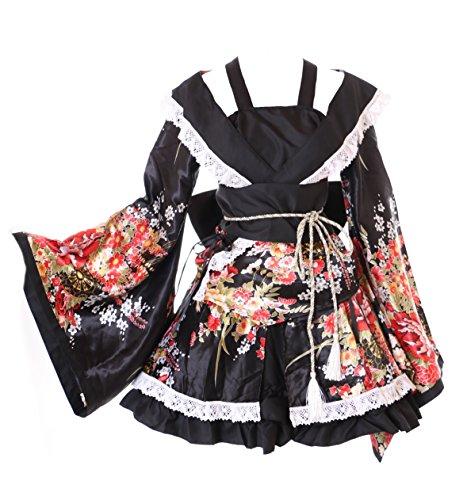 Kawaii-Story MN-29 Service de 6 pièces Japonais Motif Fleurs Noir Kimono WA-Qi Lolita Cosplay Costume