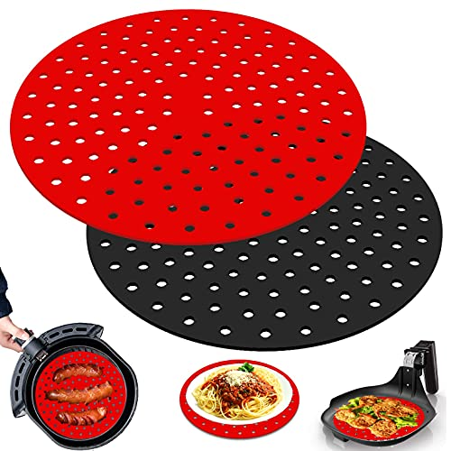 Liangzhou 2 Pack Reusable Air Fryer Liners, 8 Inch or 9 Inch Round Non-Stick Air Fryer Mat, Perforated Air Fryer Silicone Accessories, BPA Free and Easy to Clean