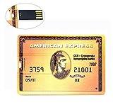 64GB Memoria USB de 64GB Gold American Express Ultra Delgado USB Memory Stick