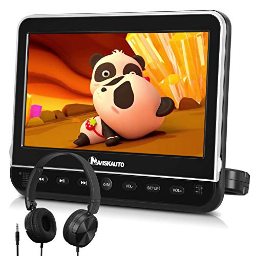 "10.1"" DVD Coche Soporte HDMI MP4 para Reposacabezas, Reproductor DVD para Niño con Auriculares Soporte Video 1080P/ MKV/USB/SD/AVI, AV- In/out, Se Puede Conectar con TV - NAVISKAUTO"