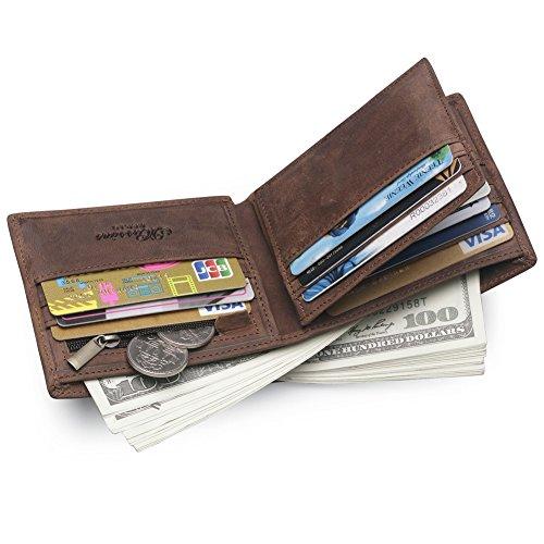 MS Cartera de Hombre de Piel Monedas Monedero Titular DNI Tarjeta de Credito (Marrón)