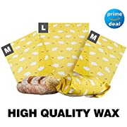 """Beeswax Wrap Big Sized Lunch 3 Pack - Eco Friendly Organic Reusable Fresh Food Keeper Travel Sheets - Washable Sustainable Plastic Free Alternative Food Storage - 2 Medium (10""""x11"""") 1 Large (13""""x14"""")"""