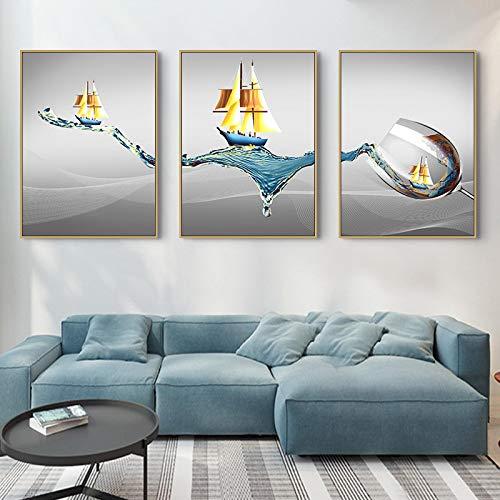 Sunsightly Impresión en Lienzo Minimalista Moderno Navegación Copa de Vino Pinturas en Lienzo Cuadros de Arte de Pared para la decoración de la Sala de Estar 24'x35 (60x90cm) x3 Sin Marco