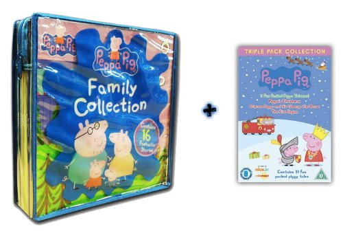 Peppa Pig Family Collection 16 Books + Peppa Pig Triple Pack DVD Set