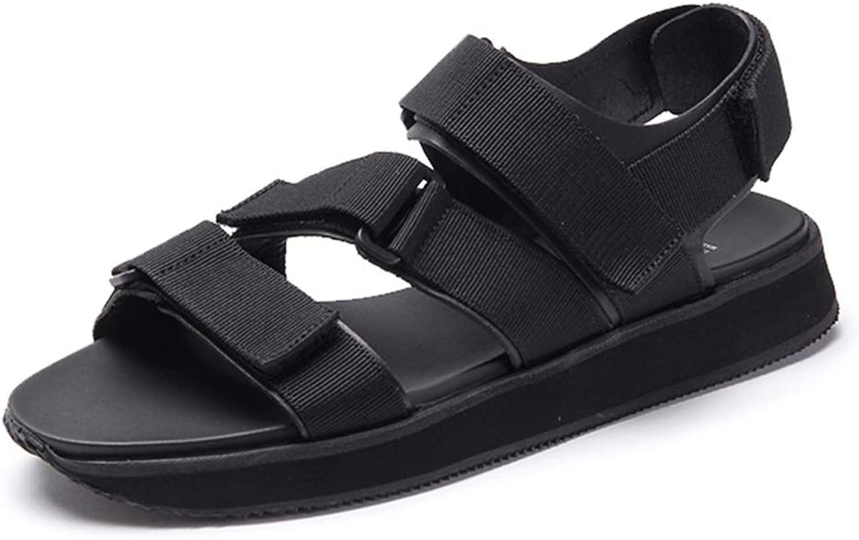 Sport Sandals Sports Sandals Summer Velcro Beach shoes Outdoor Men's Walking Sandals Daily Casual shoes Travel Men's shoes Rubber Buffer Insole (color   Black, Size   UK6.5 US8.5)
