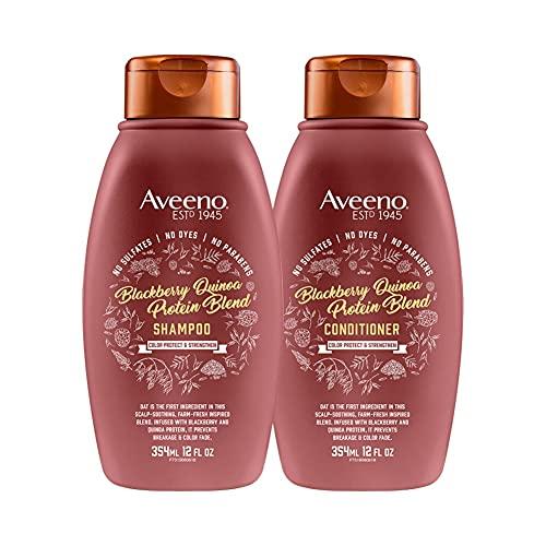 Aveeno Color Protect & Strengthen+ Blackberry & Quinoa Conditioner (12 Fl Oz) with Aveeno Color Protect Strengthen+ Blackberry Quinoa Shampoo, Fresh, 12 Fl Oz