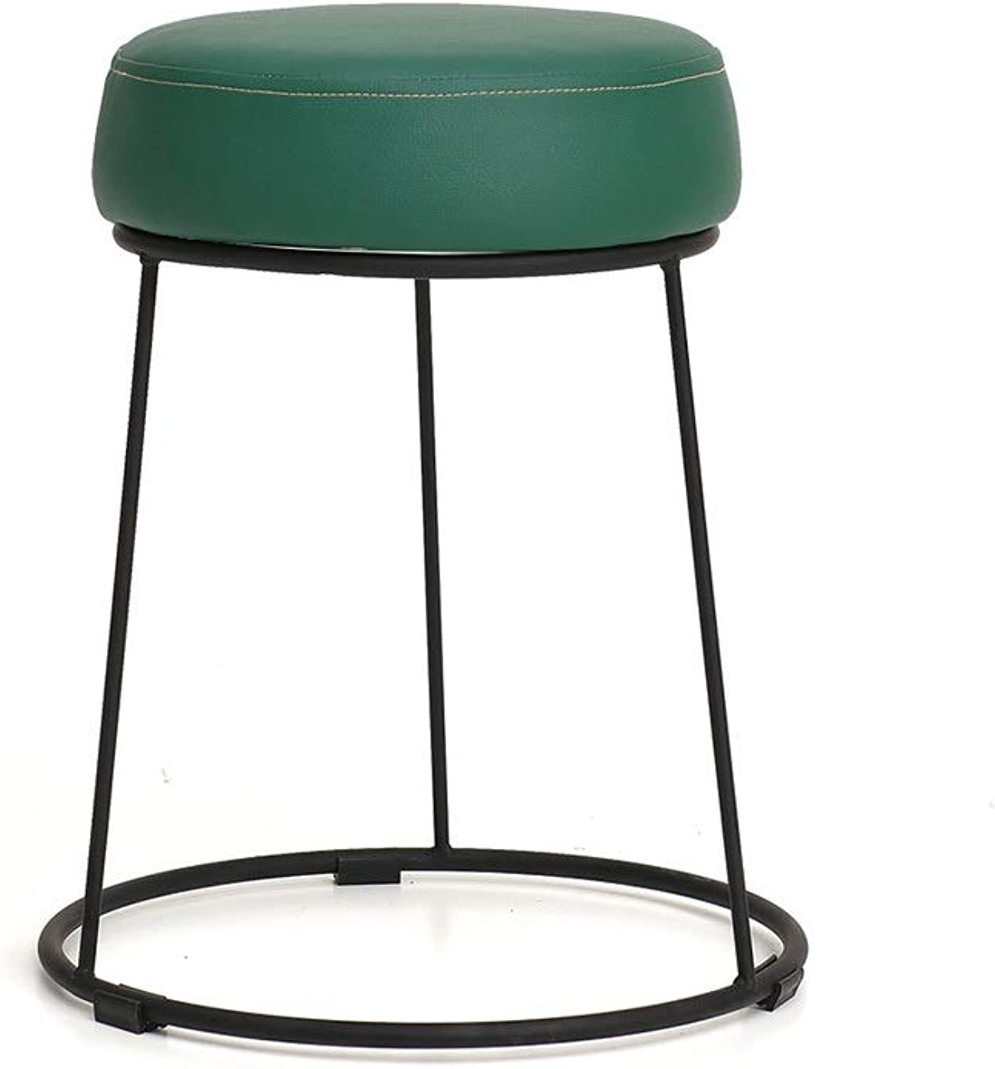 Dressing Stool, Dark Green Foot Stool Upholstered Footrest Iron Chair Bench Leather Seat Dresser Vanity Stool (color   Black)
