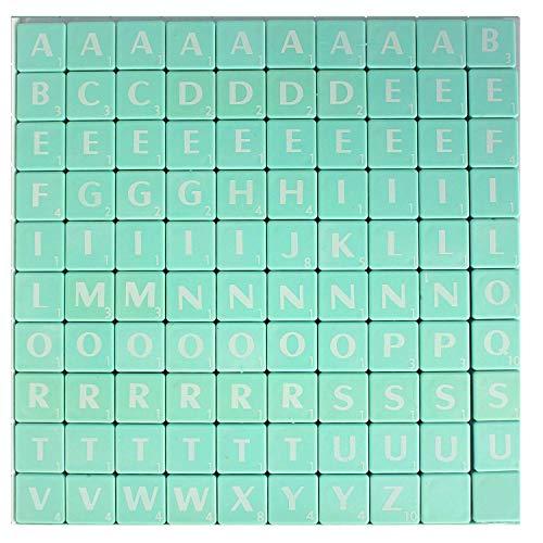 Trimming Shop Alphabet-Steine 100 Stück 1,9 cm  schwarz mit weißen Buchstaben – perfekt als Ersatz, für Kunst und Handwerk, Brettspiele, Scrapbooking, Rechtschreibung, Wandkunst, Puzzle grün