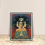 zhuziji DIY Pintar por números Tarjeta de Tarot psicodélica misteriosa Diosa de la Luna Imprimir decoración de la casa del Artista Gitano Bohemio y40x60cm(Sin Marco)