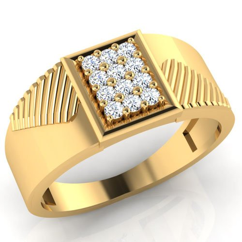 0,26Ct redondo Natural Diamond anillos de boda para hombre 14K oro amarillo para hombre todos los tamaño I J K L M N O P Q R S