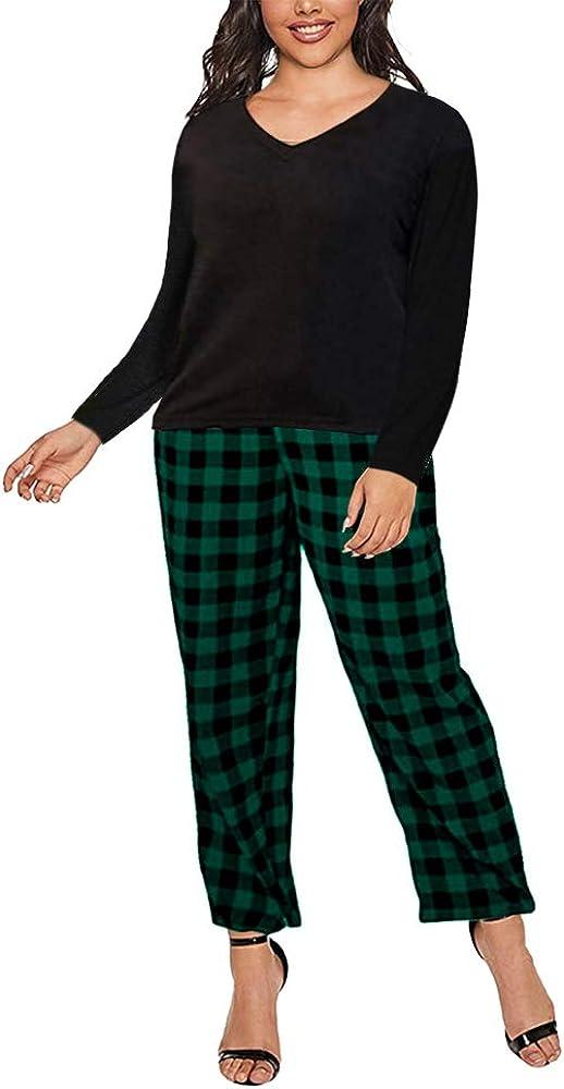 Women Plus Size Pajamas Set Plaid store V-Neck Free shipping New Pants Short Slee Lounge
