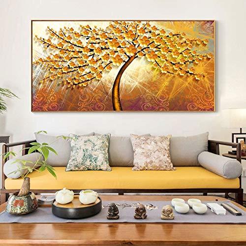 KWzEQ Il Manifesto Astratto Moderno e Stampa L'Immagine Astratta murale dell'albero dei Soldi decorano Il Salone,Pittura Senza Cornice,75x150cm