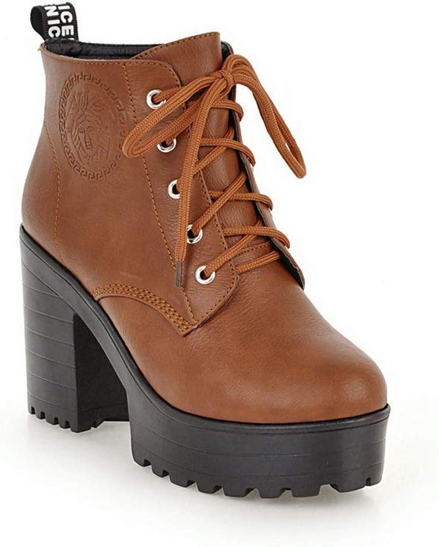 BalaMasa Womens Platform Solid Fashion Urethane Boots ABL10764