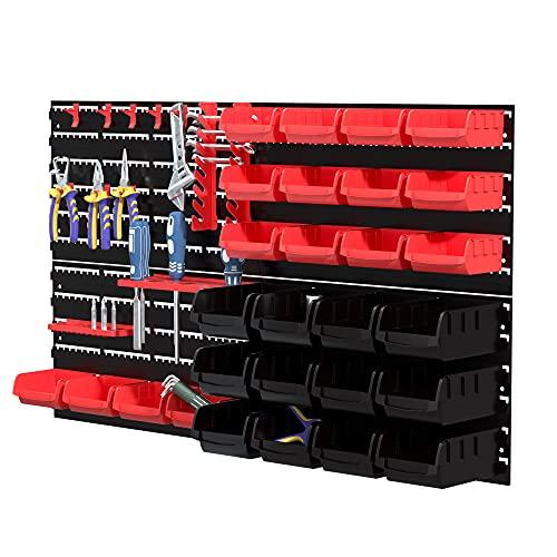 KOOPRO 部品収納ケース 壁掛け 46PCS 小物 工具入れセット ツール パーツプラケース キャビネット レンチ ドライバー類 ビットホルダ フック 壁掛けボード ネジ 付き ガレージ 工場作業場 家庭ワークショップ DIY