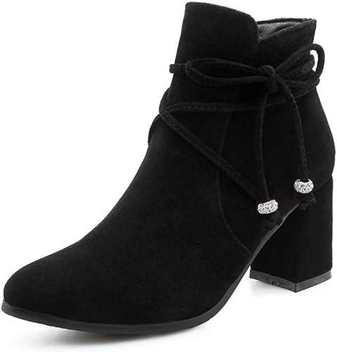 Moojm Bottes femmes, cheville bottes femmes femmes plus velours pour garder chaud épais talon mi-bout pointu Toe Zipper bottes (4 couleurs)  font des activités d'escompte