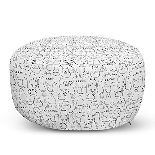 Ambesonne Cat Pouf Cover with Zipper, Lazy Furry Feline Doodles Sleeping Silly Playful Pets Whiskers Sketch Art Monochrome, Soft Decorative Fabric Unstuffed Case, 30' W X 17.3' L, Black White