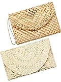 Frienda 2 Bourse d'Embrayage de Paille Sac Enveloppe de Paille Tissée Embrayage de Bracelet Sac de Plage d'Été