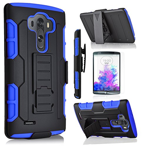 LG G3 Case, Starshop [Heavy Duty] Dual Layers with Kickstand with [0.33m 9H Tempered Glass Screen Protector Included] and Locking Belt Clip (Blue)