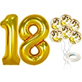 Number 18 and Gold Confetti Balloons - Large, 40 Inch Foiil Gold Balloons | 5 Gold Confetti Balloons, 12 Inch | 18th Birthday Party Decorations | Party Supplies for Anniversary Décor