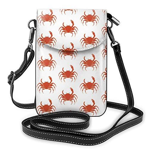 Lawenp Monedero de cuero para teléfono, bolso bandolera pequeño con patrón de cangrejo Mini bolso de hombro para teléfono celular para mujeres