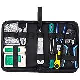 HSEAMALL Kit de herramientas de reparación de red RJ45, juego de herramientas de crimpado Ethernet, Crimpadora LAN de mantenimiento de computadora, pelacables, probador