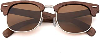 LUKEEXIN Men's Women's Bamboo Wood Retro Sunglasses with Polarized Lenses (Color : Brown)