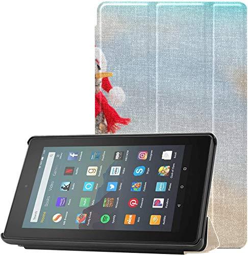 Funda Protectora Kindle Lovely Sandy Snowman Funda para Tableta para Tableta Fire 7(novena generación,versión 2019) Ligera con suspensión/activación automática